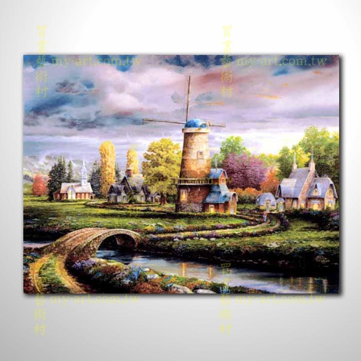 【風景油畫】燈塔03 荷蘭風景 風車_大海帆船燈塔_精美風景油畫_買畫藝術村