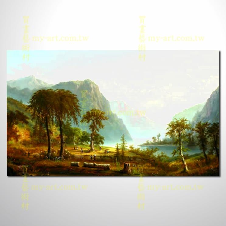 古典风景12,横幅,风景油画,山水油画,纯手绘,客制临摹画,开运画,装饰