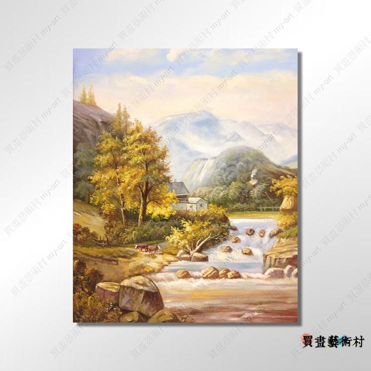 现货【风景油画】古典风景215 流水生财 源源不绝 背有靠山
