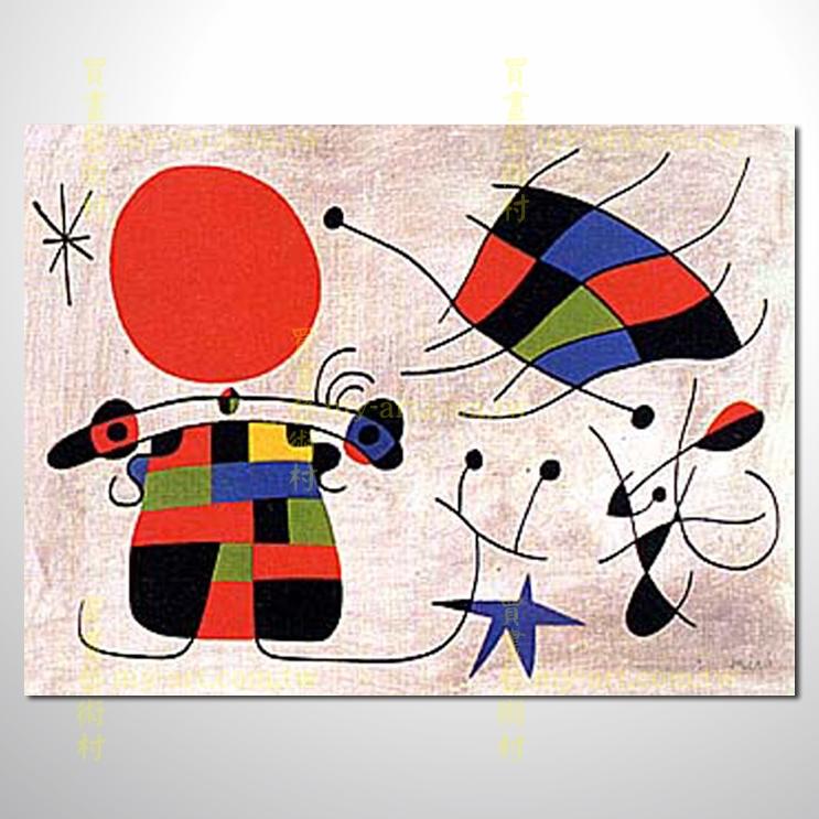 畫家簡介   米羅是二十世紀最重要的畫家,他的畫充滿了詩意與童趣,作品畫面充滿了隱喻、幽默與輕快,深受大人與小孩喜愛。除了繪畫以外,他還有許多雕塑、陶藝、版畫作品,被稱為「把兒童藝術、原始藝術和民間藝術揉為一體的大師」,可以說是當代最偉大的藝術家之一。   米羅於1893年4月20日出生在有歐洲之窗之稱的西班牙巴塞隆納。父親是一名金匠和珠寶商。米羅自小就對於大自然的風景非常熱愛,他父親在蒙洛依(Montroig)買了一個農莊,那裡單純的生活為他童年留下了美好回憶,所以米羅日後的作品裡有一系列以「農莊」為