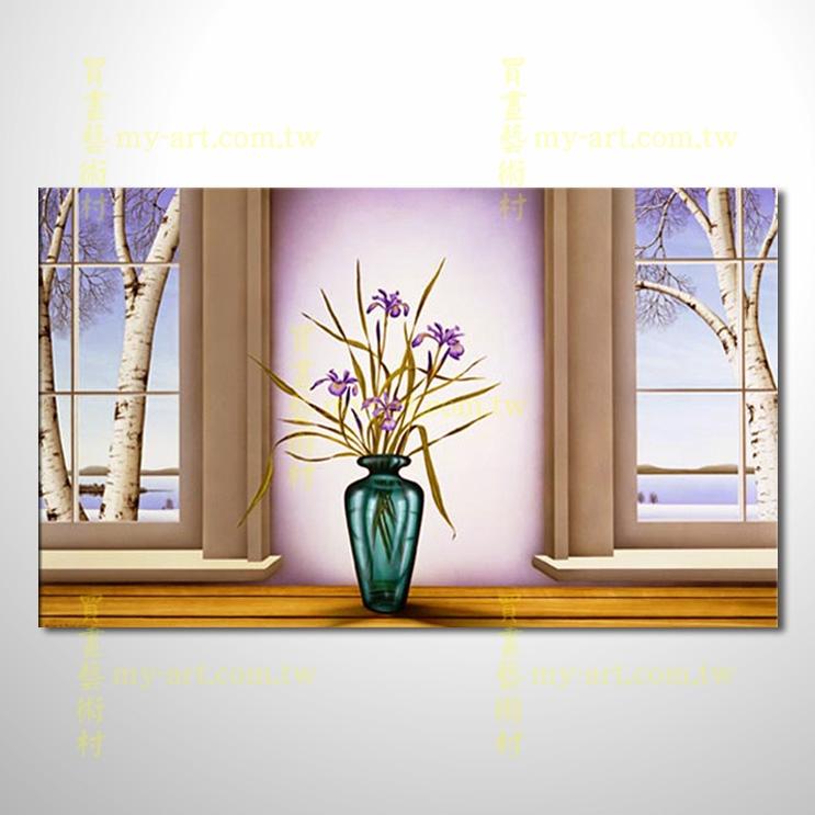 門窗景33,橫幅,裝飾藝術,純手繪,高品質油畫,居家佈置,門市,飯店,餐廳,民宿,辦公室,室內設計首選
