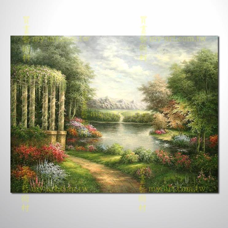 【臨摹名畫】托馬斯花園景33,橫幅,歐式風景畫,居家佈置,純手繪寫實,裝飾藝術畫,風景畫,藝術油畫,高品質油畫,精品,裝潢,居家設計最愛