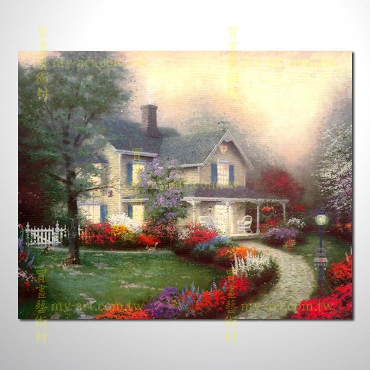 【臨摹名畫】托馬斯花園景36,橫幅,歐式風景畫,居家佈置,純手繪寫實,裝飾藝術畫,風景畫,藝術油畫,高品質油畫,精品,裝潢,居家設計最愛